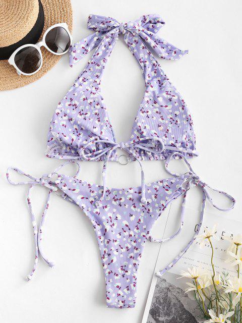 Costume da Bagno Bikini Floreale a Costine con Nodo Laterale di ZAFUL - Viola S Mobile