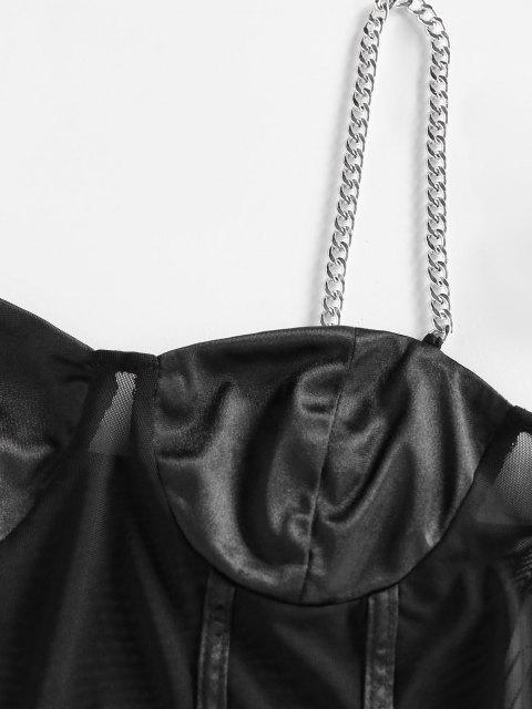 ZAFUL Haut à Bretelle en Maille Transparente avec Chaîne - Noir M Mobile