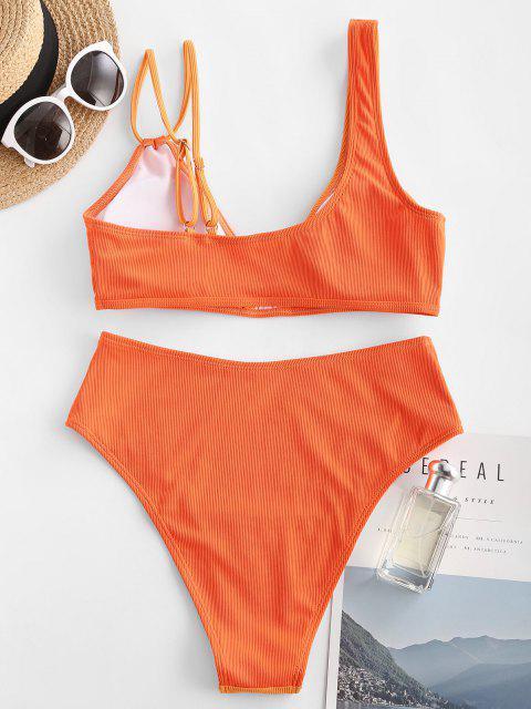 chic ZAFUL Asymmetric Shoulder Plunge High Rise Bikini Swimwear - ORANGE L Mobile