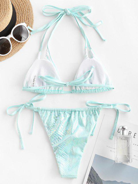 unique ZAFUL Disco Snakeskin Coated String Bikini Swimwear - LIGHT BLUE M Mobile