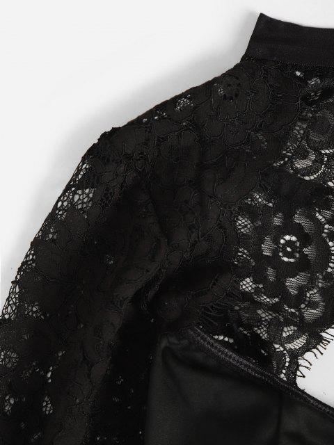 latest Lace Panel Cutout Long Sleeve Bustier Bodysuit - BLACK M Mobile