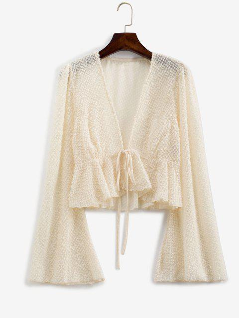 fancy Metallic Threads Flare Sleeve Tie Front Blouse - LIGHT COFFEE L Mobile