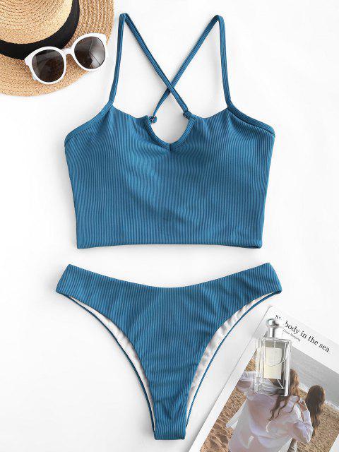 ZAFUL Costume da Bagno Tankini con Spalle Scoperte e Scollo a V - Profondo blu S Mobile