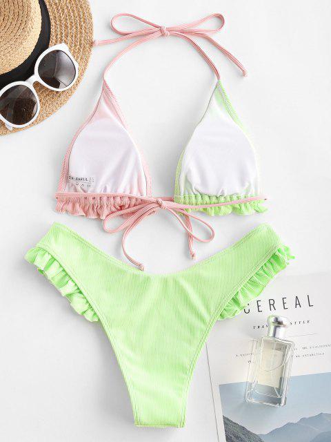 Costume da Bagno Bikini a Costine a Balze con Halter di ZAFUL - Verde chiaro S Mobile