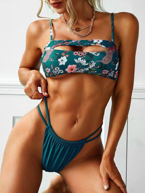 womens ZAFUL Cutout Floral Leopard Print Bikini Swimwear - PEACOCK BLUE S Mobile