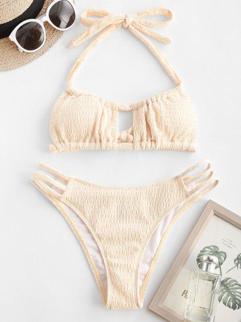 ZAFUL Halter High Cut Cutout Bikini Swimwear - القهوة الخفيفة S Mobile