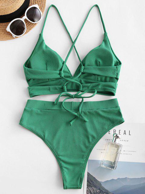 Costume da Bagno Bikini a Costine a Vita Alta con Lacci di ZAFUL a Taglio Alto - Verde chiaro S Mobile