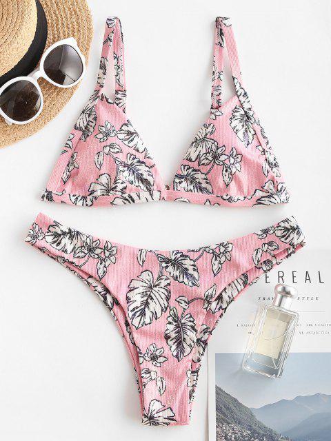 sale ZAFUL Shiny Floral Print Plunge Metallic Bikini Swimwear - LIGHT PINK M Mobile