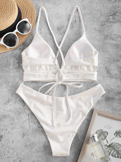 ZAFUL Kreuzer und Querer Schlangenleder Bikini Badebekleidung mit Hohem Ausschnitt - Weiß S Mobile