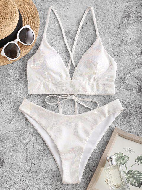 trendy ZAFUL High Cut Criss Cross Snakeskin Coated Bikini Swimwear - WHITE M Mobile