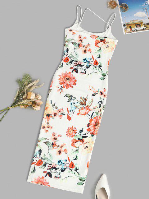 affordable Spaghetti Strap Floral Slinky Midi Bodycon Dress - WHITE M Mobile