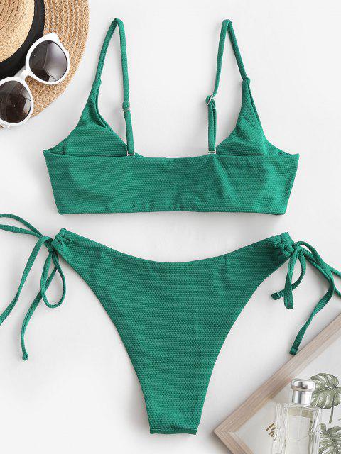 Costume da Bagno Bikini Annodato di ZAFUL con Ferretto a V - Verde intenso S Mobile