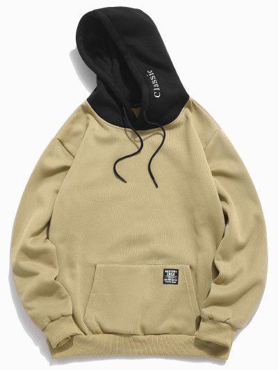 Farbe-blocking Brief Patch-Details Beutel-Taschen VliesHoodie - Licht Khaki L