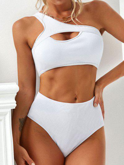 ZAFUL Einziger Schulter Schlüsselloch Strukturierter Gerippter Tankini Badebekleidung - Weiß Xl