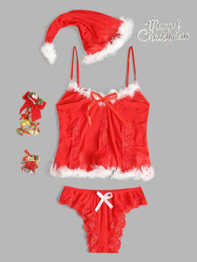 Faux Feather Lace Trim Christmas Hat Lingerie Set - Red