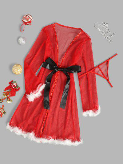 Belted Faux Feather Christmas Lingerie Robe Dress - Red