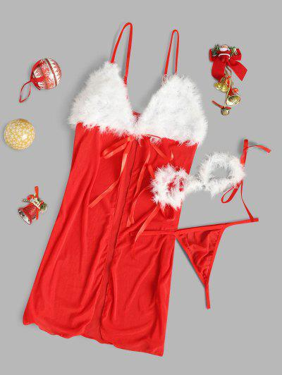 Faux Feather Christmas Lingerie Babydoll