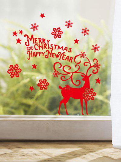 Christmas Deer Snowflake Glass Background Window Wall Stickers - Red 25*27