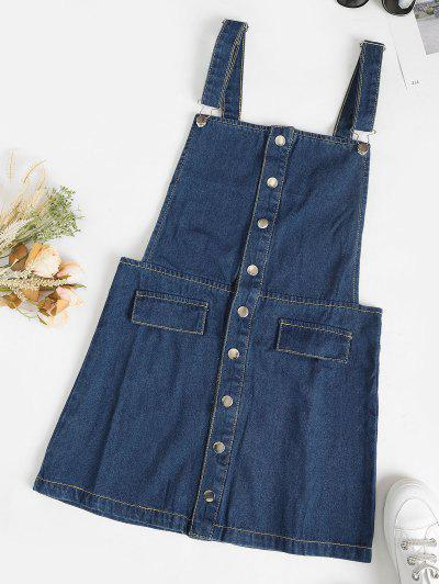 Snap Button Mini Denim Pinafore Dress - Light Blue Xl