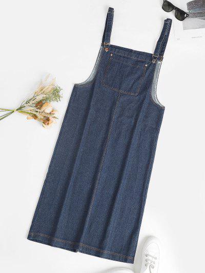 Front Pocket Straight Pinafore Denim Dress - Blue L