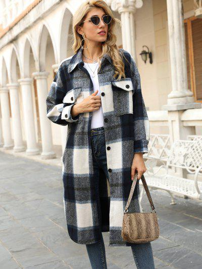 Plaid Pocket Drop Shoulder Slit Long Coat - Deep Blue M