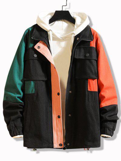 Multi Pockets Zip Up Contrast Jacket - Black 4xl