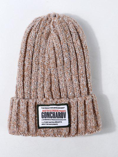 Labeling Design Knit Hat - Orange Pink