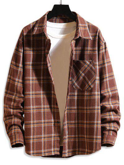 Plaid Print Button Up Long Sleeve Pocket Shirt - Coffee S
