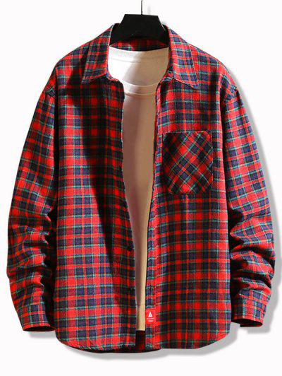 Plaid Print Applique Button Up Pocket Shirt - Red L