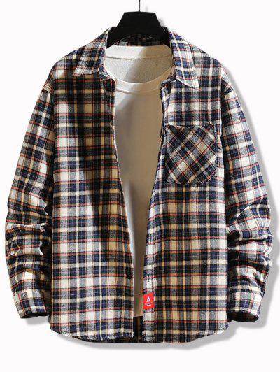 Plaid Print Applique Button Up Pocket Shirt - Cadetblue L