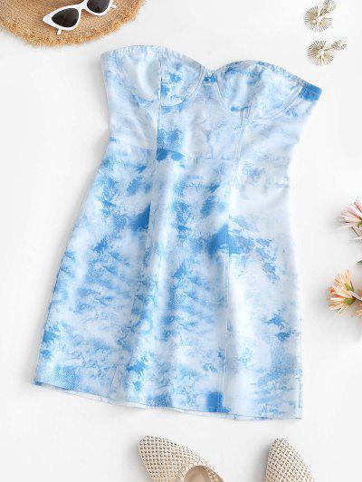Vestido De Renda Cortado De Tubo - Azul Claro M