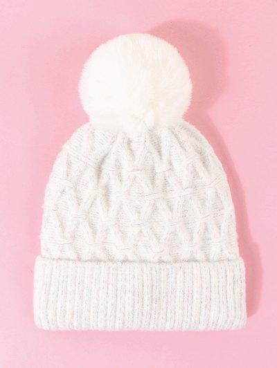 Bonnet Bouffant En Tricot à Bordures Contrastées - Blanc Lait