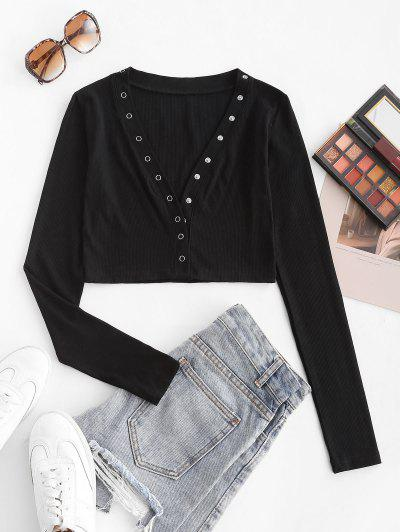 Snap Button Rib-knit Long Sleeve Crop Top - Black S