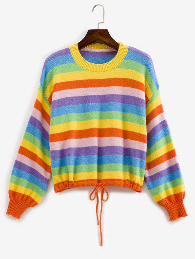 Drawstring Hem Lantern Sleeve Rainbow Stripes Sweater - Multi