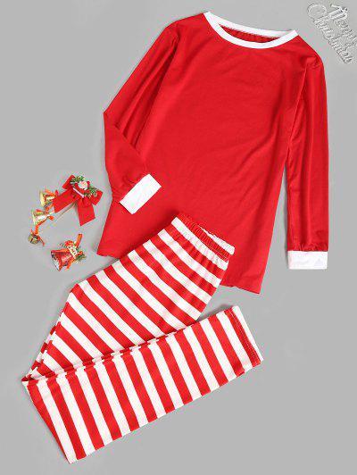 Contrast Stripes Comfy Christmas Pajama Set - Red M