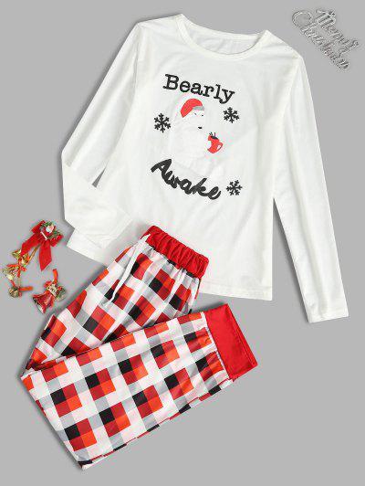 Christmas Plaid Snowflake Bear Pajama Set - Red M