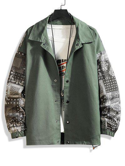 Paisley Scarf Print Button Up Jacket - Army Green M