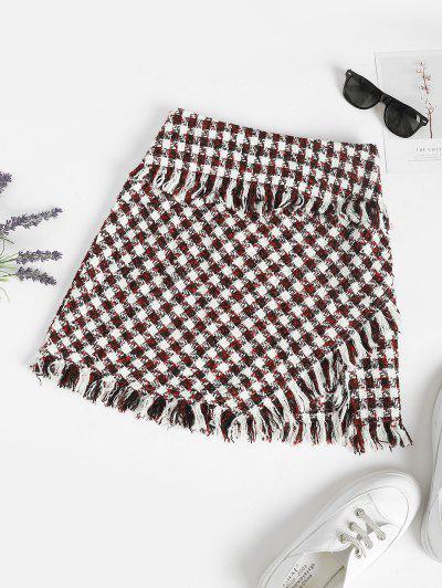 ZAFUL Frayed Plaid Tweed Mini Skirt - Deep Red L
