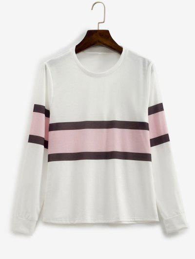 Contrast Striped Pullover Basic Sweatshirt - White L