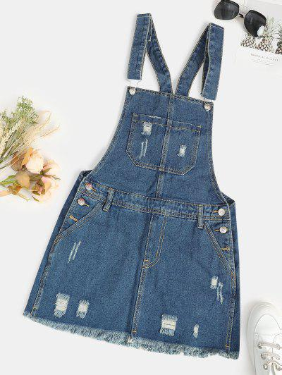 Distressed Frayed Denim Pinafore Dress - Light Blue S