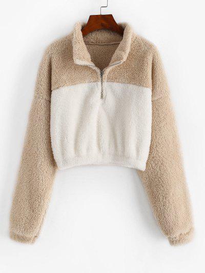 Two Tone Drop Shoulder Half Zip Fluffy Sweatshirt - Light Coffee S