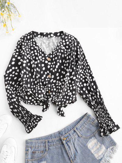 Dots Pattern Smocked Poet Sleeve Blouse - Black L