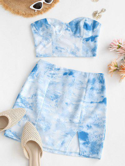 Tie Dye Smocked Back Slit Two Piece Dress - Light Blue M