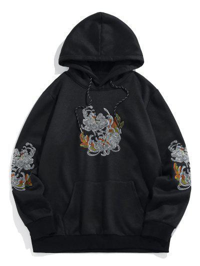 ZAFUL Flower Embroidered Fleece Hoodie - Black S
