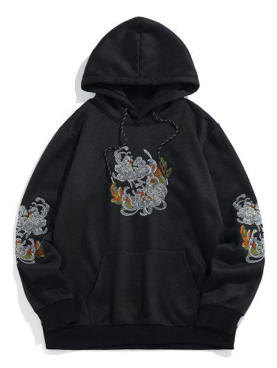 ZAFUL Flower Embroidered Fleece Hoodie - Black 2xl