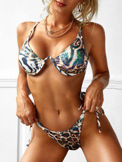 ZAFUL Disco Tiger Leopard Coated String Bikini Swimwear - Black L