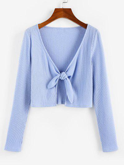 ZAFUL Ribbed Tied Plunging Crop T Shirt - Light Blue S