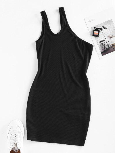 ZAFUL Ribbed One Shoulder Cutout Bodycon Dress - Black M
