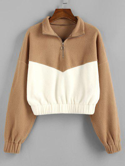 ZAFUL Colorblock Half Zipper Sweatshirt - Tan M