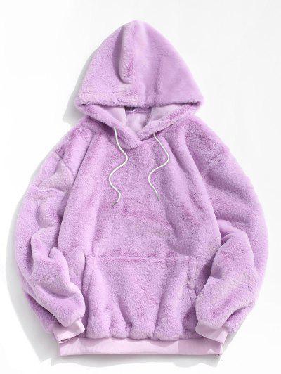 Kangaroo Pocket Faux Fur Fluffy Pullover Hoodie - Light Purple M